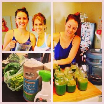 Making green juice for our detox